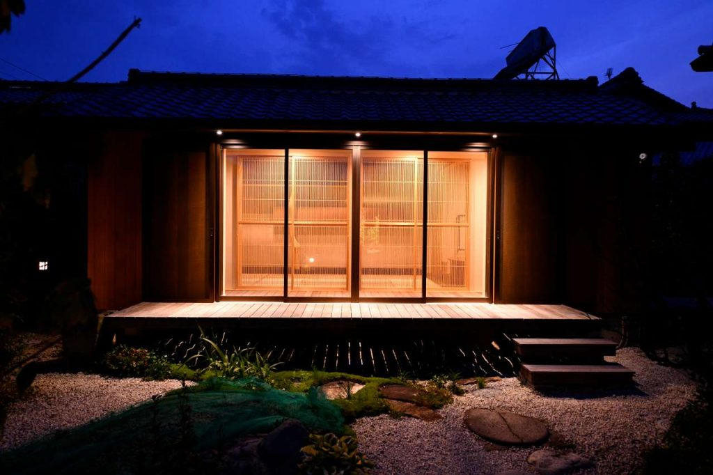 茶室リフォーム施工例の夜景